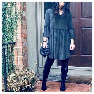 ✨LAST ONE✨Charcoal black suede look tunic dress